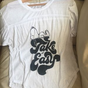 Peanuts snoopy white graphic Take it Easy T-shirt